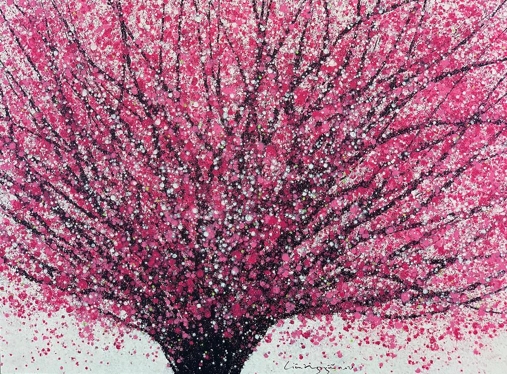 """Tác phẩm """"Hoa đào"""" gam màu tươi sáng sắc xuân của họa sĩ Liêu Nguyễn Hướng Dương"""