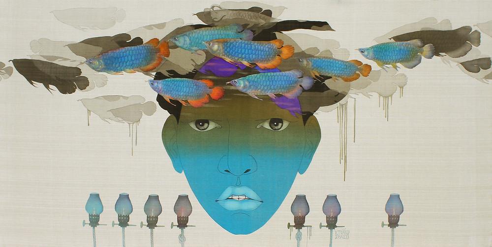 Vũ Đình Tuấn, Kiếm Tìm Một Dòng Sông 01, 2012, màu nước trên lụa, 78 x 156 cm