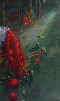 Artist's Studio with Red Peony | Phòng Tranh Với Hoa Mẫu Đơn Đỏ
