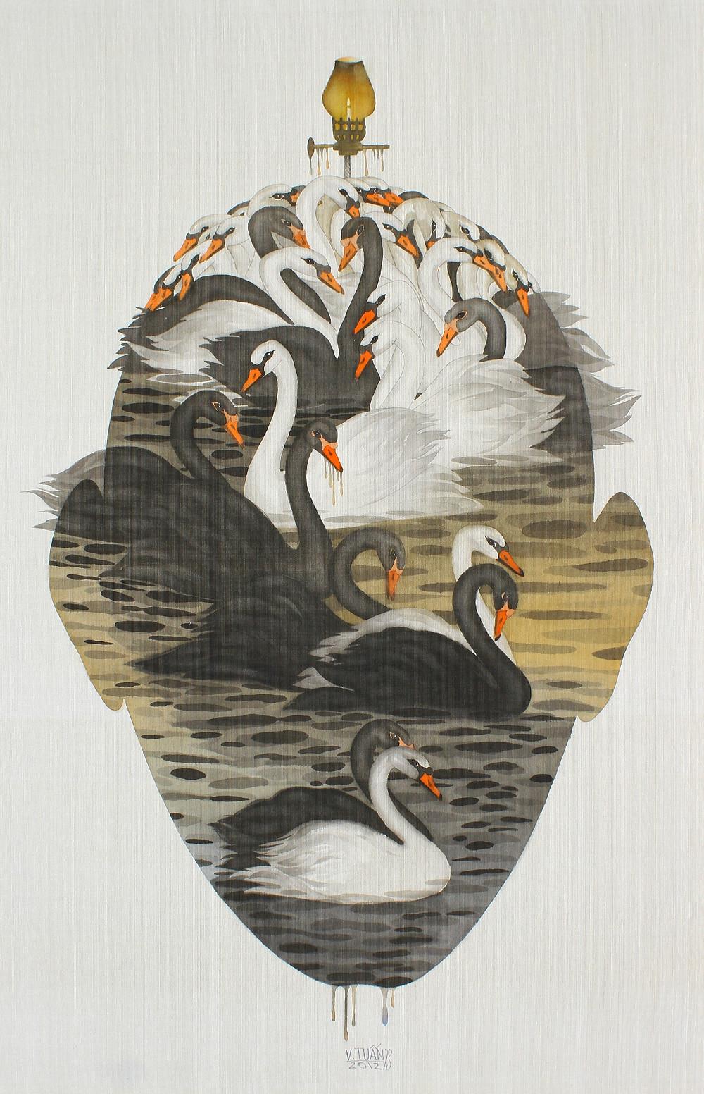 Vũ Đình Tuấn, Hồ Thiên Nga, 2012, màu nước trên lụa, 120 x 78 cm