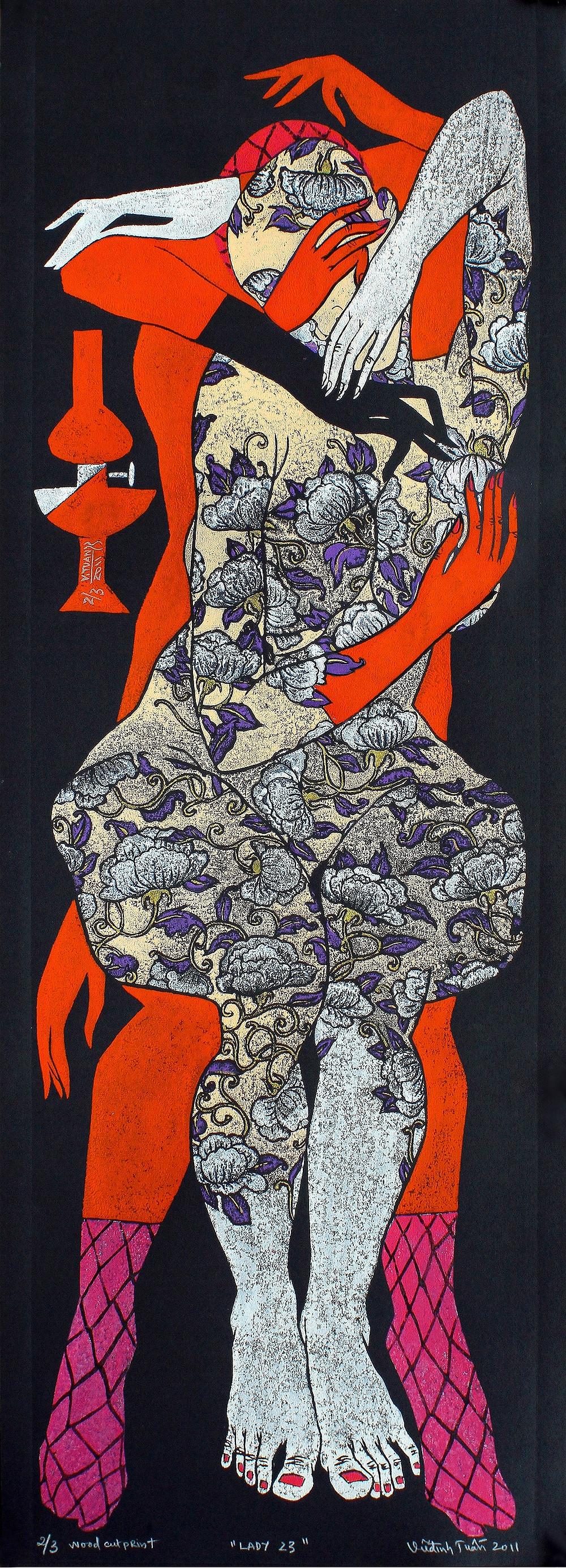 Vũ Đình Tuấn, Quý Cô 23, 2011, in khắc gỗ trên giấy đen, 110 x 40 cm