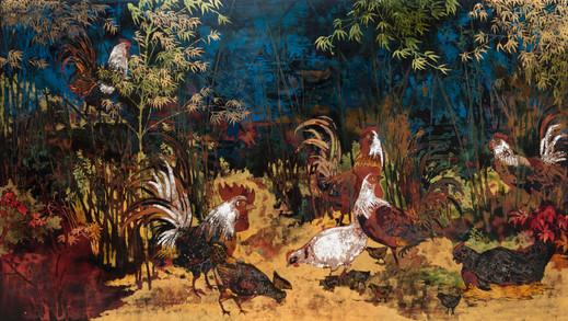 Nguyễn Trần Cường Lacquer on wood Sơn mài trên gỗ 68 x 122 cm  For reference | Tác phẩm tham khảo