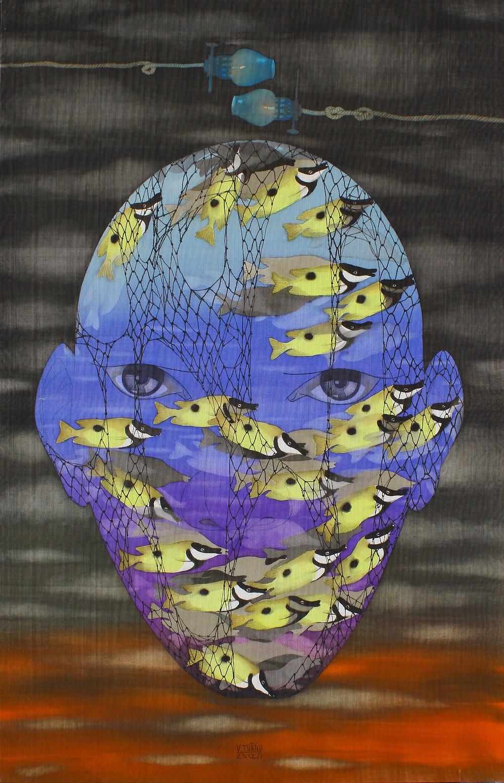 Vũ Đình Tuấn, Mắt Đại Dươg, 2012, màu nước trên lụa, 120 x 78 cm
