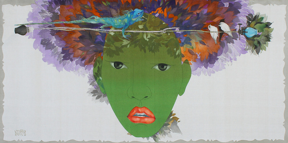Vũ Đình Tuấn, Con Thằn Lằn Xanh Trên Bông Hoa Đỏ, 2011, màu nước trên lụa, 78 x 156 cm