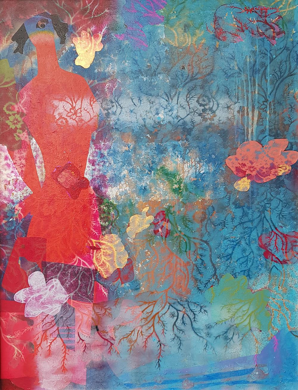 Nguyễn Thế Hùng, Sương Đêm, 2018, chất liệu tổng hợp trên toan, 128 x 98 cm