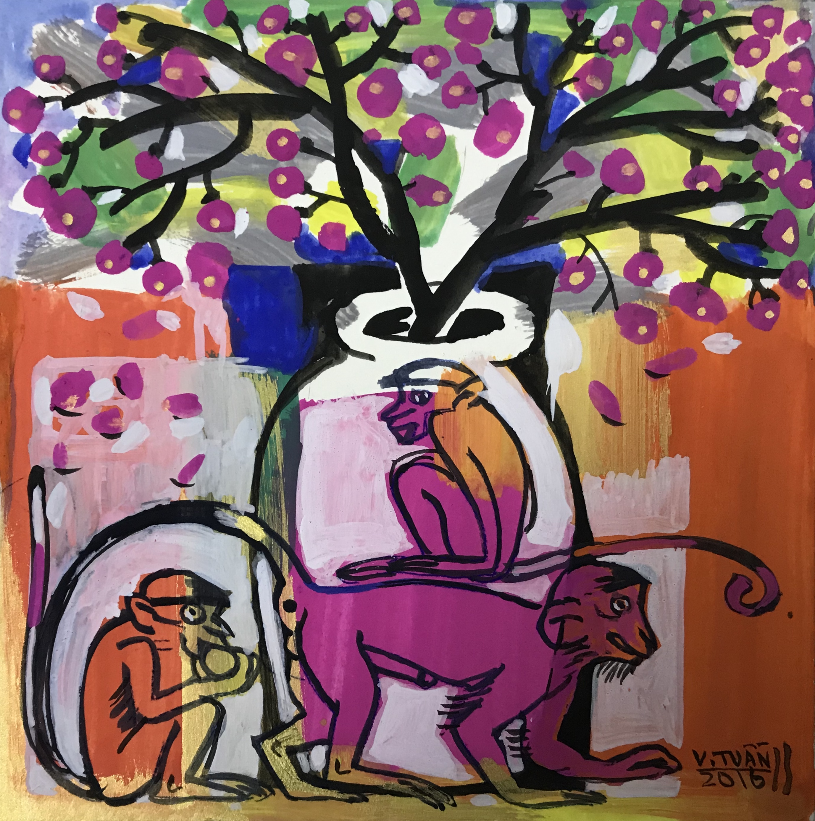 Khỉ và hoa đào | Monkey and Peach Blossoms