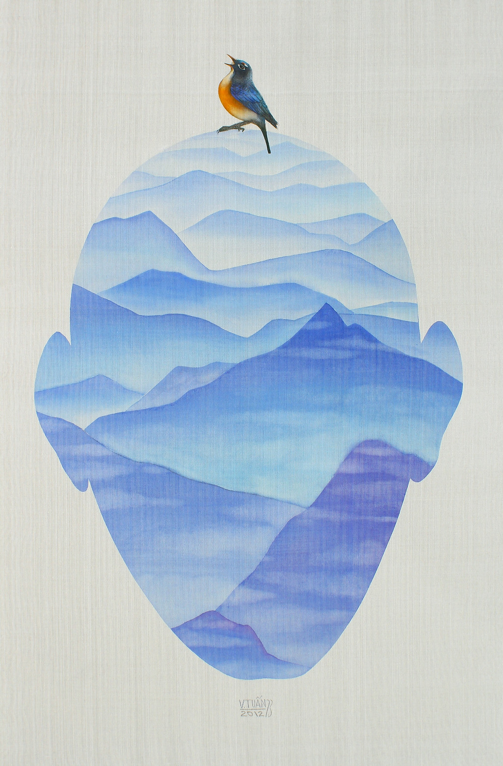 Vũ Đình Tuấn, Solo, 2012, màu nước trên lụa, 120 x 78 cm