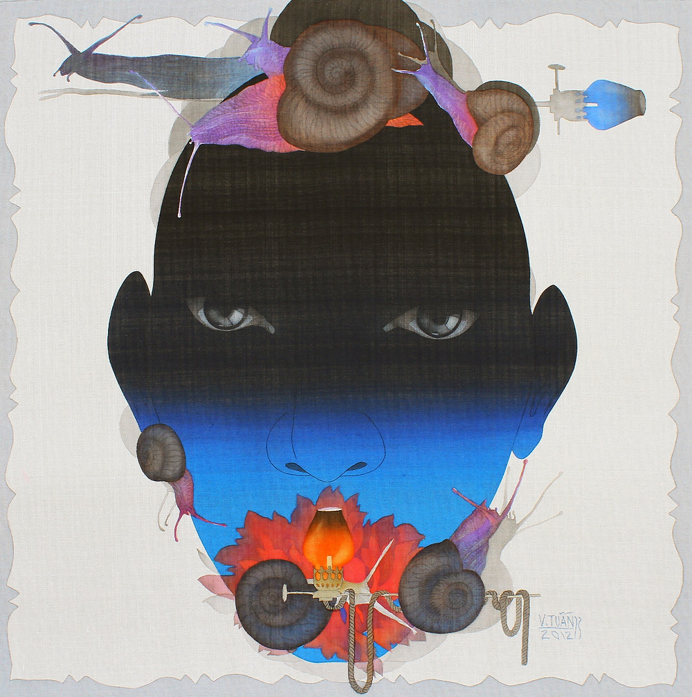 Vũ Đình Tuấn, Khu Vườn Tình Yêu 03, 2012, màu nước trên lụa, 78 x 78 cm