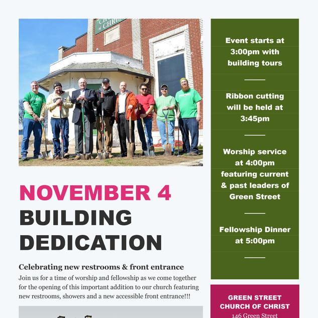 Green Street Celebration flyer - Novembe