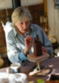 Jane Silk at work in the Pottery