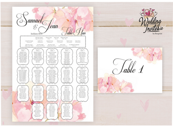Table Plan and number, Pink Floral