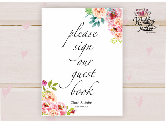 Sign our Guest Book, floral