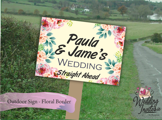 Floral border outdoor sign