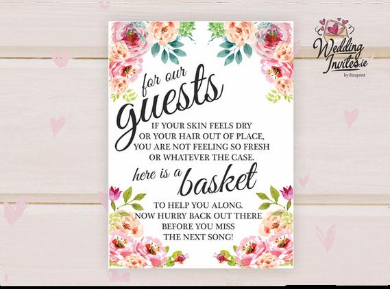 Bathroom basket for guests, floral