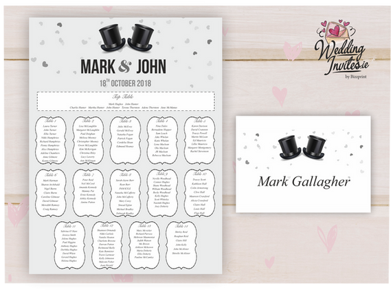 Table Plan and number, top hats