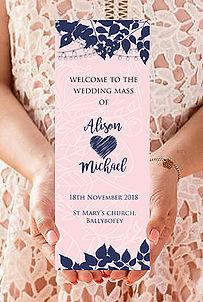 Order of service. Wedding Mass. Service booklets. www.weddinginvites.ie