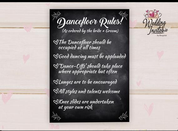 Dancefloor rules, Chalkboard