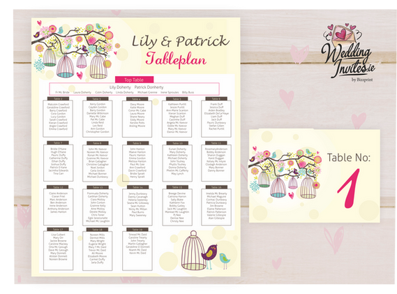 Table Plan and number, birdcage