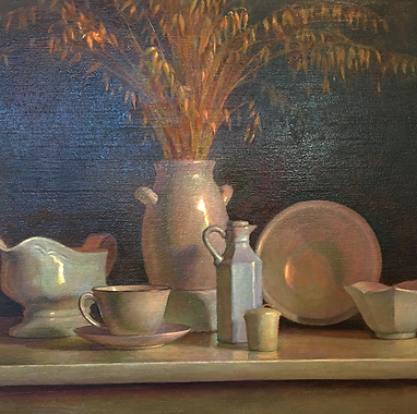 Ron Marvin Oil Painting dishes square.pn