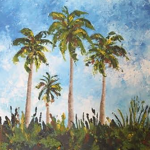 Kathy Thomas Palm Trees and Palette Knif