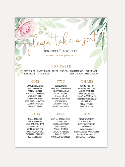 Sage & Pink Bloom Table Plan