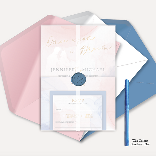 Disney Inspired Evening Invitation, RSVP, Info Card with Vellum Wrap & Wax Seal