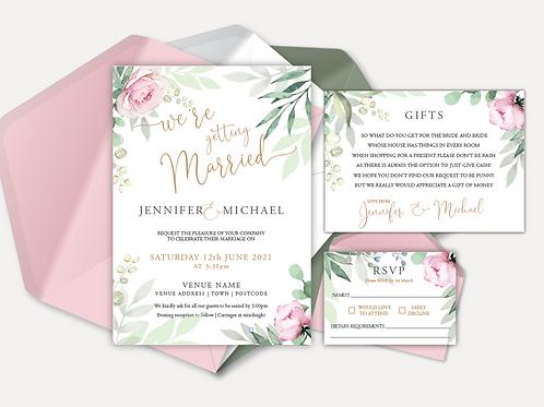 Sage & Pink Bloom Day Invitation, RSVP & Info Card
