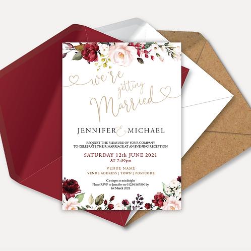 Red & Pink Rose Evening Invitation