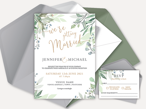 Sage Leaves Evening Invitation & RSVP