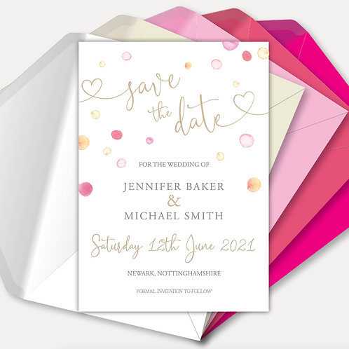 Watercolour Confetti Save the Date
