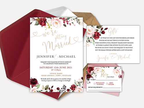 Red & Pink Rose Day Invitation, RSVP & Info Card