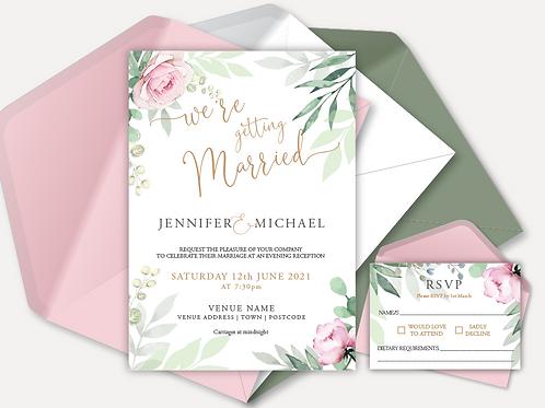 Sage & Pink Bloom Evening Invitation & RSVP