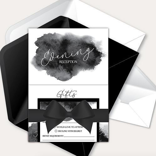 Watercolour Evening Invitation, RSVP & Information Card with Ribbon