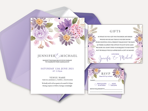Lilac Bloom Day Invitation, RSVP & Info Card
