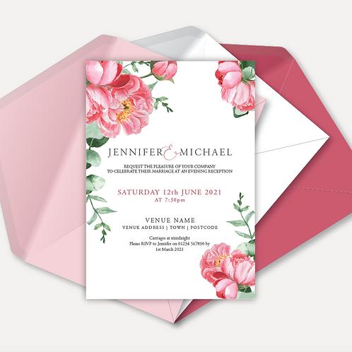 Pink Peony Evening Invitation