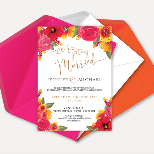 Pink & Orange Bloom Evening Invitation