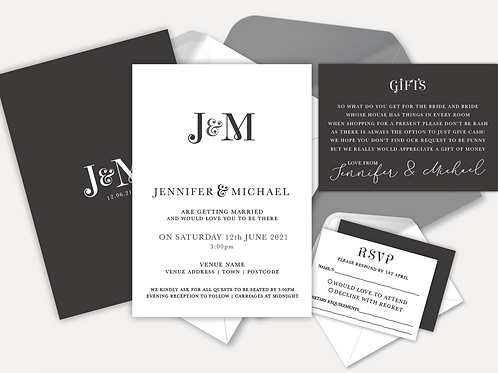 Modern Monogram Day Invitation, RSVP & Info Card