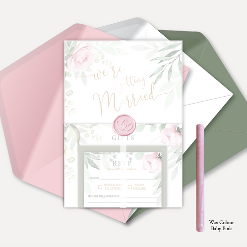 Sage & Pink Bloom Evening Invitation, RSVP, Info Card with Vellum &amp