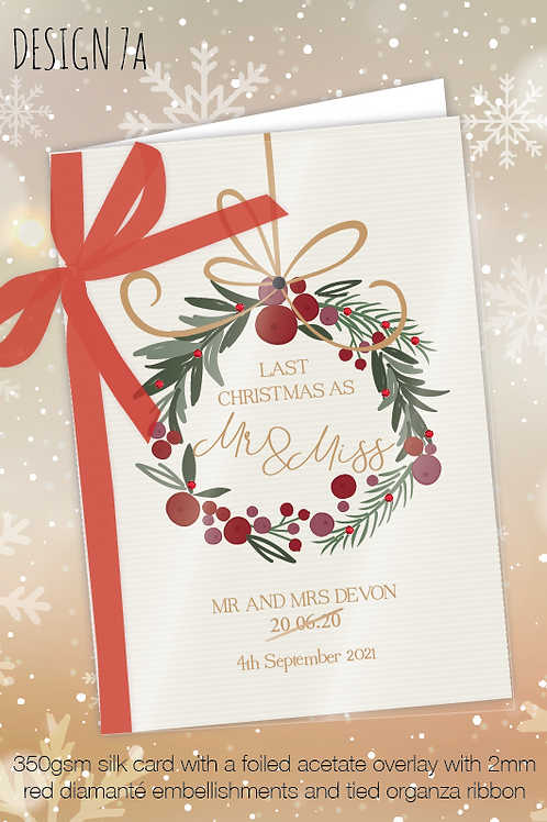 Personalised Christmas Card for Postponed Wedding - Design 7