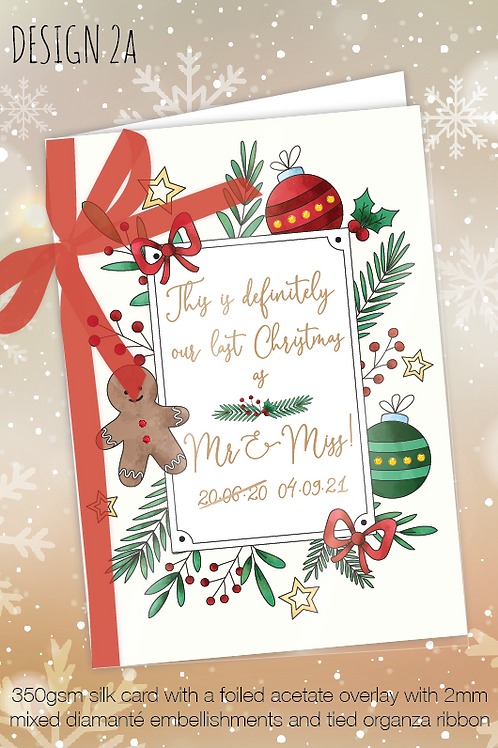Personalised Christmas Card for Postponed Wedding - Design 2