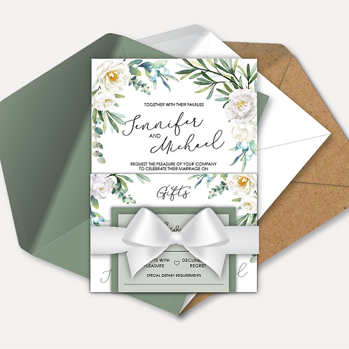 White Rose Evening Invitation, RSVP, Info Card with Ribbon