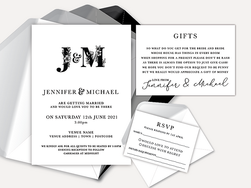 B&W Monogram Day Invitation, RSVP & Info Card