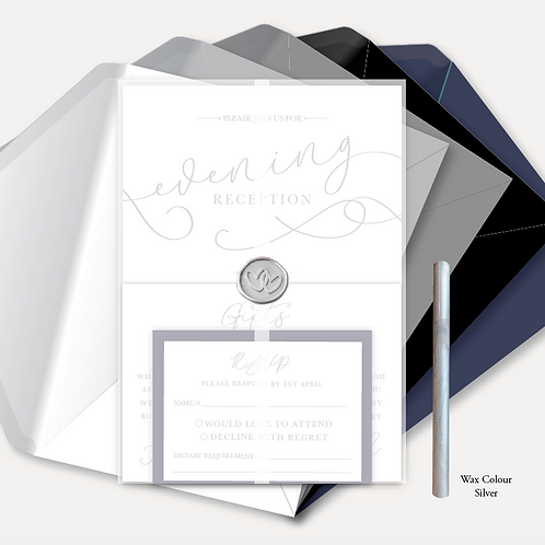 Simplicity Evening Invitation, RSVP, Info Card, Full Vellum Wrap & Wax Seal