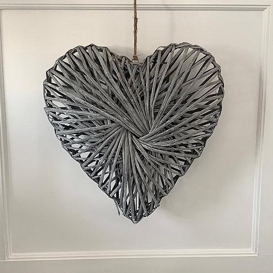 Grey Rattan Heart 40cm