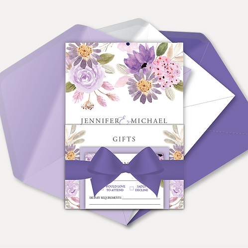Lilac Bloom Evening Invitation, RSVP, Info Card with Ribbon