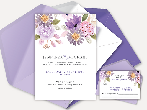 Lilac Bloom Evening Invitation & RSVP