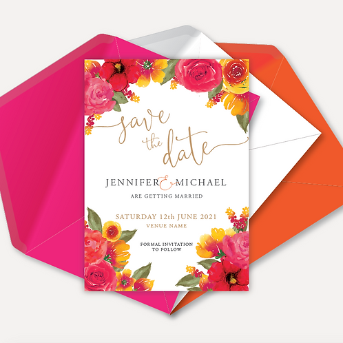 Pink & Orange Bloom Save the Date