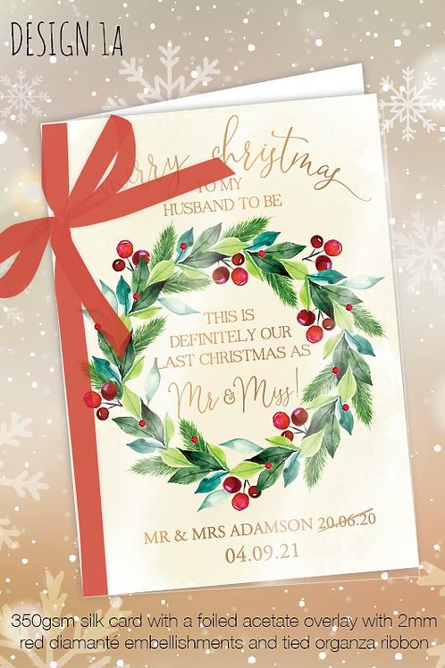 Personalised Christmas Card for Postponed Wedding - Design 1