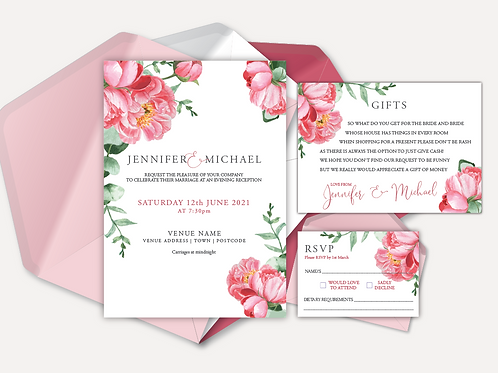 Pink Peony Evening Invitation, RSVP & Info Card