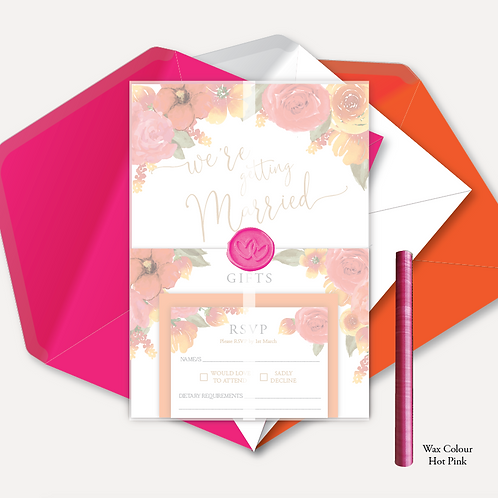 Pink & Orange Bloom Evening Invitation, RSVP, Info Card with Vellum Wrap & Wax